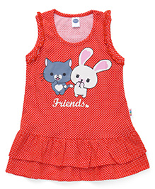 Teddy Sleeveless Dotted Frock Friends Print - Coral
