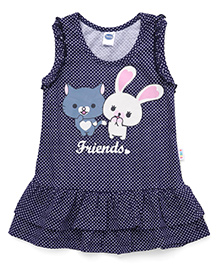 Teddy Sleeveless Dotted Frock Friends Print - Navy