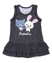 Teddy Sleeveless Dotted Frock Friends Print - Black
