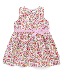 Teddy Sleeveless Frock Printed And Bow Applique - Pink