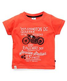 OllypopHalf Sleeves T-Shirt Bike Print - Carrot Orange