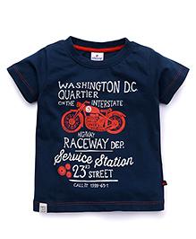OllypopHalf Sleeves T-Shirt Bike Print - Blue