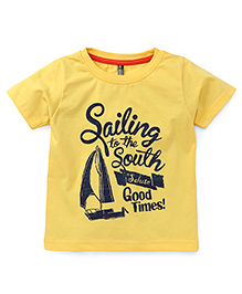 OllypopHalf Sleeves T-Shirt Caption Print - Yellow