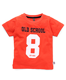Ollypop Half Sleeves T-Shirt Number 8 Print - Carrot Red