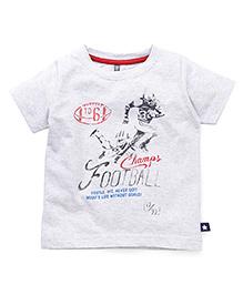 OllypopHalf Sleeves T-Shirt Football Print - Melange Grey