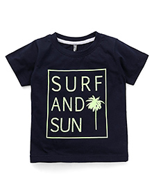 OllypopHalf Sleeves T-Shirt Surf And Sun Print - Navy