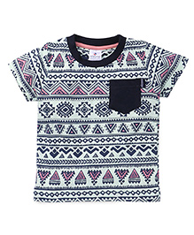 OllypopHalf Sleeves Printed T-Shirt - Light Sea Green & Navy