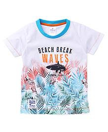 OllypopHalf Sleeves T-Shirt Waves Print - White