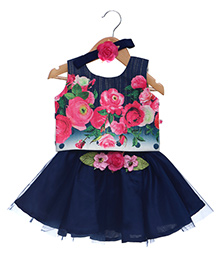 Rose Couture Set Of Floral Printed Bodice & Flare Skirt With Hairband - Navy Blue