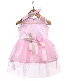 Rose Couture Frill Dress With Flower Applique & Hairband - Pink