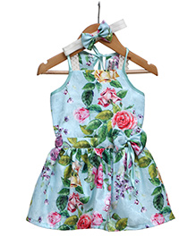 Rose Couture Drop Waist Floral Printed Dress With Hairband - Sea Green