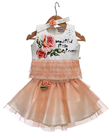 Rose Couture Set Of Printed Top & Frill Flower Applique Skirt With Hairband - Peach