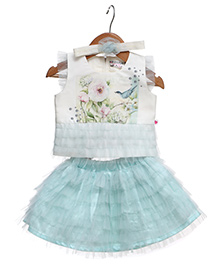 Rose Couture Set Of Semi Printed Top With Flare Skirt & Hairband - Sea Green