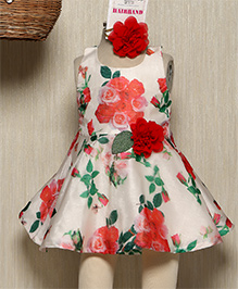 Rose Couture Rose Printed Dress With Floral Applique & Hairband - Red & White