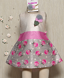 Rose Couture Semi Printed Semi Flare Dress With Hairband - Pink & White