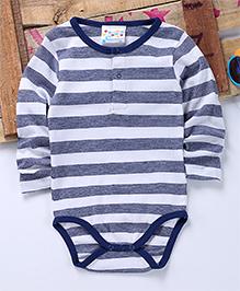 Eimoie Full Sleeves Striped Onesie - Blue & White