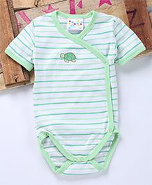 Eimoie Multi Horizontal Stripe Crossover Onesie - Seagreen & White