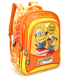 Minions Top Of The Class Print School Bag With Cover Orange - 18 Inches