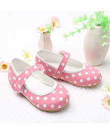 LCL By Walkinlifestyle Mary Jane Shoes Polka Dots - Pink White