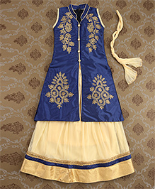 Mukaam Buttoned Designer Kurti Lehenga Set With Dupatta - Blue & Cream