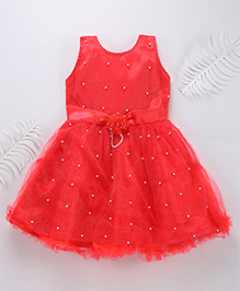 Superfie Attractive Party Dress With Pearl Detailing - Red