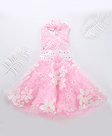 Superfie Gorgeous Floral Detailing Party Dress - Pink