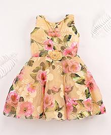 Superfie Beautiful Flower Dress With 4 Lining - Cream