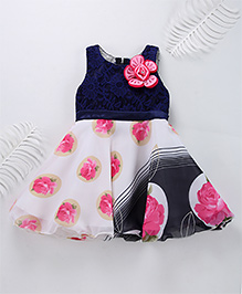 Superfie Mixprint Rose Dress For Lil Girl - Navy & Hot Pink