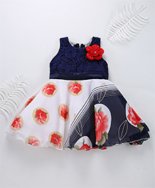 Superfie Mixprint Rose Dress For Lil Girl - Navy & Red