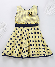 Superfie Polka Dot Cotton Mix Dress - Yellow
