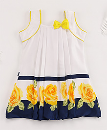 Superfie Sleeveless Mixprint Casual Dress - Blue & Yellow