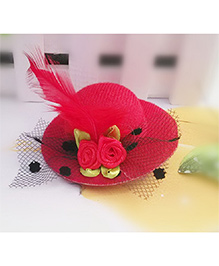 Angel Closet Girls Small Hat Clip With Flowers And Feather - Red - 1344289