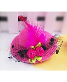 Angel Closet Girls Small Hat Clip With Flowers And Feather - Pink - 1344292