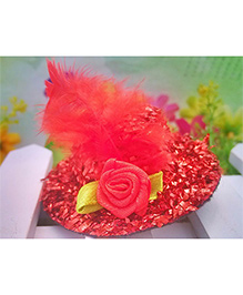 Angel Closet Girls Small Hat Clip With Flowers And Feather - Red