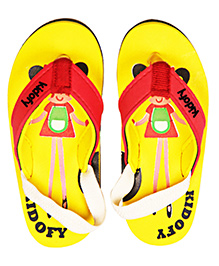 Kidofy Girl Printed Flip Flops - Yellow