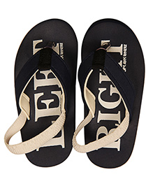 Kidofy Soft Elasticated Left Right Printed Flip Flops - Black & Grey