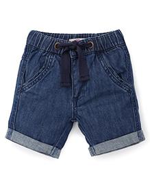 Fox Baby Drawstring Shorts - Denim Blue