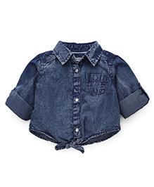 Fox Baby Solid Shirt Front Tie Knot - Denim Blue