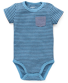 Fox Baby Half Sleeves Onesie Stripes Print - Turquoise