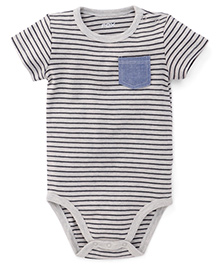 Fox Baby Half Sleeves Onesie Stripes Print - Grey