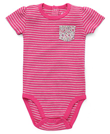Fox Baby Half Sleeves Onesie Stripes Print - Pink