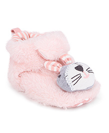 Fox Baby Booties Bunny Applique - Pink