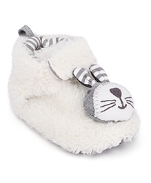 Fox Baby Booties Bunny Applique - White