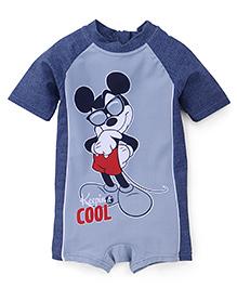 Fox Baby Half Sleeves Legged Swimsuit Mickey Print - Blue