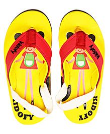 Kidofy Girl Printed Flip Flops - Yellow