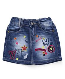 Vitamins Denim Skirt Embroidery - Blue