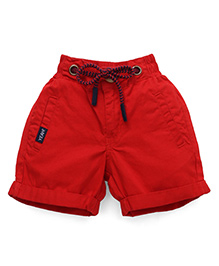 Vitamins Straight Solid Color Shorts With Drawstring - Red