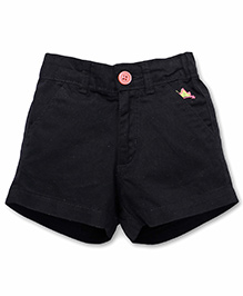 Vitamins Solid Color Shorts With Cute Me Embroidery - Black