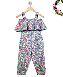 Budding Bees Floral Printed Frill Bodice Jumpsuit - Off White