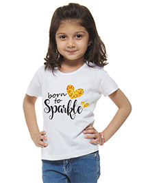 M'Andy Born To Sparkle Printed Tee - White